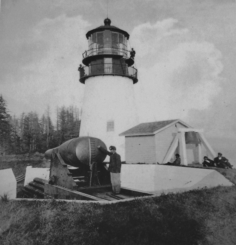Marker detail: Lighthouse and Fog Bell circa 1865 image. Click for full size.