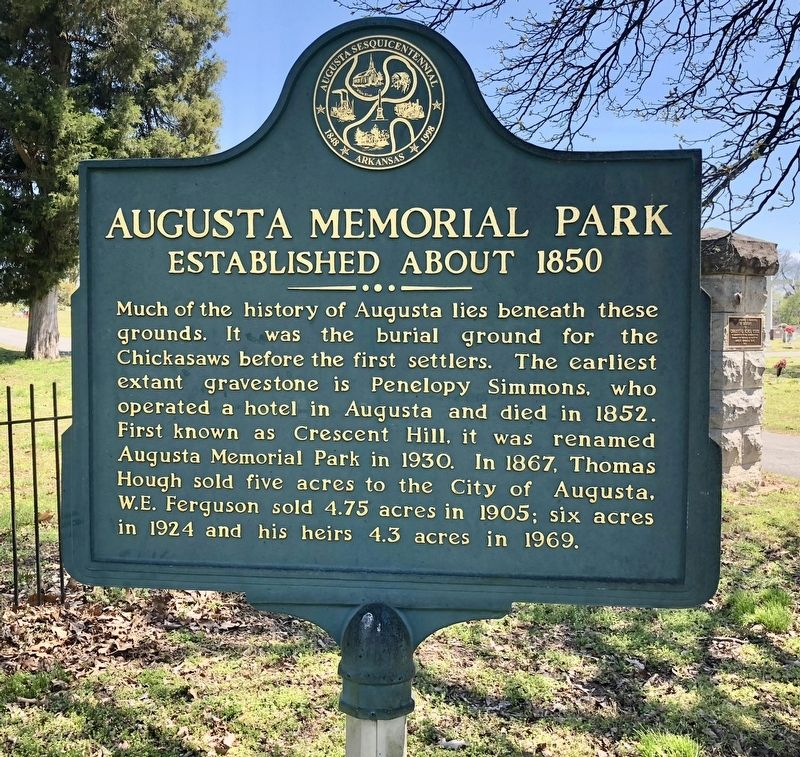 Augusta Memorial Park Marker image. Click for full size.