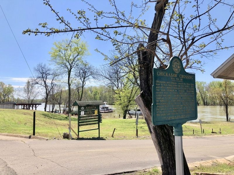 Chickasaw Crossing marker at an August White River access point. image. Click for full size.