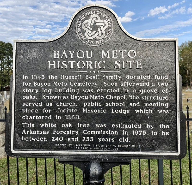 Bayou Meto Historic Site Marker image. Click for full size.