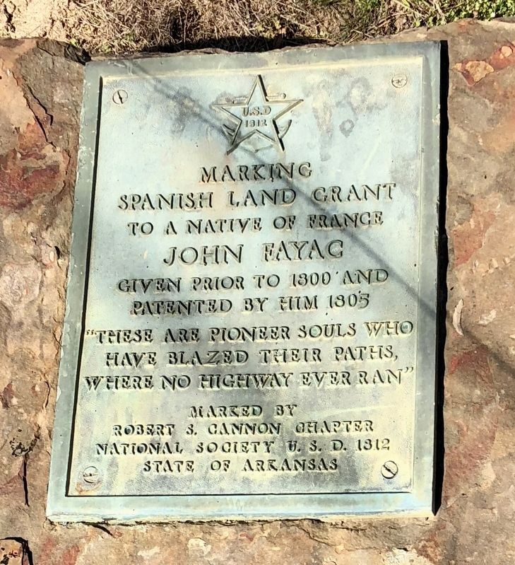 Spanish Land Grant to John Fayac Marker image. Click for full size.