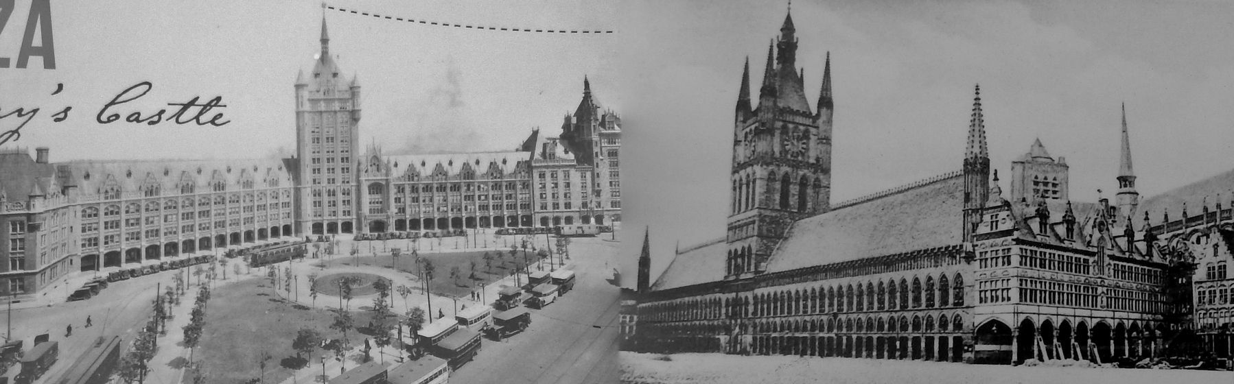 SUNY Plaza's design was inspired by the Cloth Guild Hall in Ypres, Belgium, completed in 1304</i> image. Click for full size.