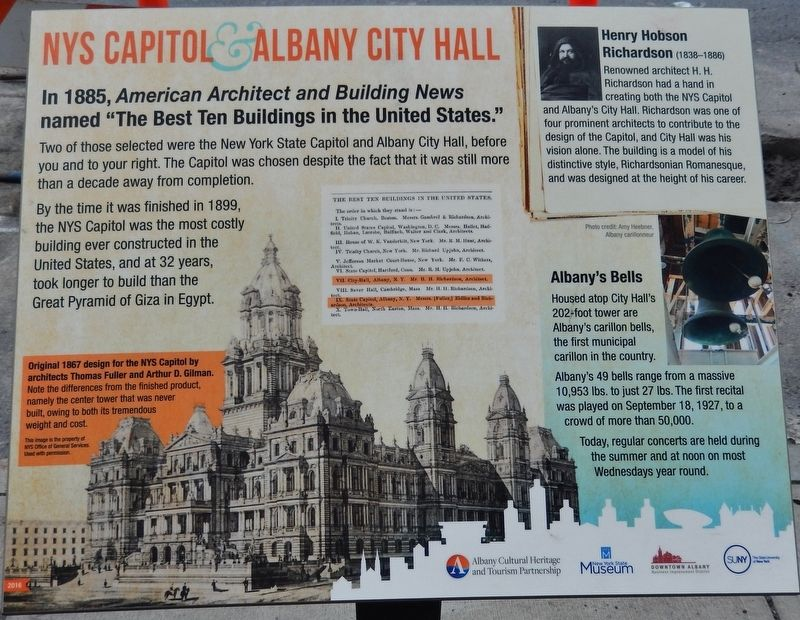 NYS Capitol & Albany City Hall Marker image. Click for full size.