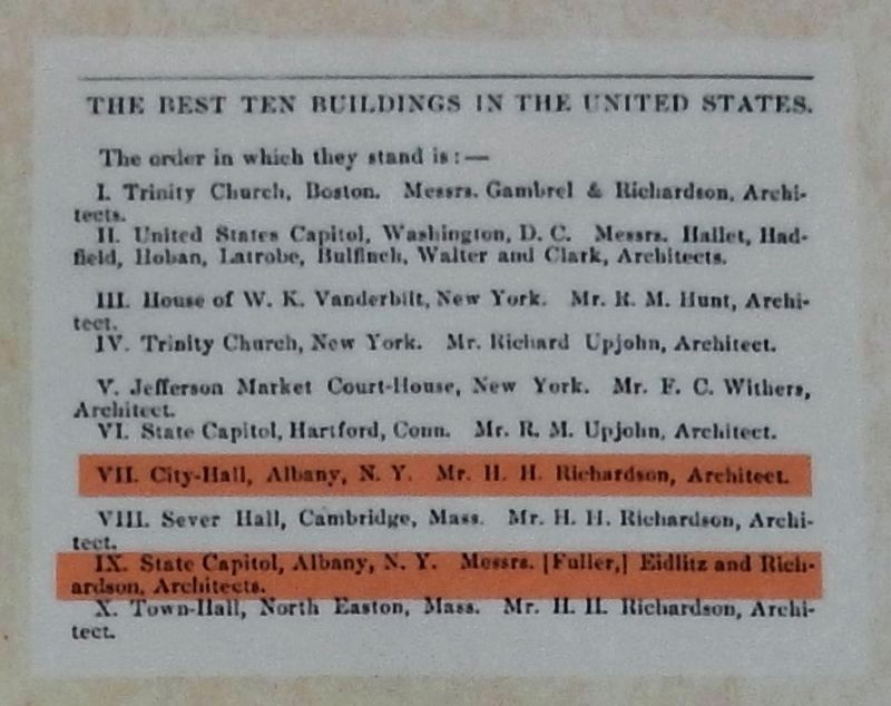 "<i>American Architect and Building News</i>, 1855, ""Ten Best Buildings in the United States"" image. Click for full size."