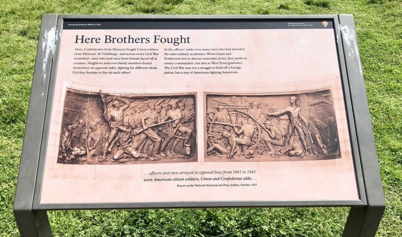 Another Missouri brothers against brothers marker - this one at Vicksburg Battlefield. image. Click for full size.