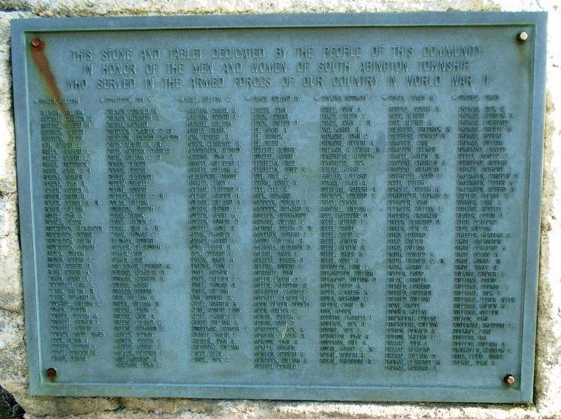 South Abington Township World War II Memorial Marker image. Click for full size.