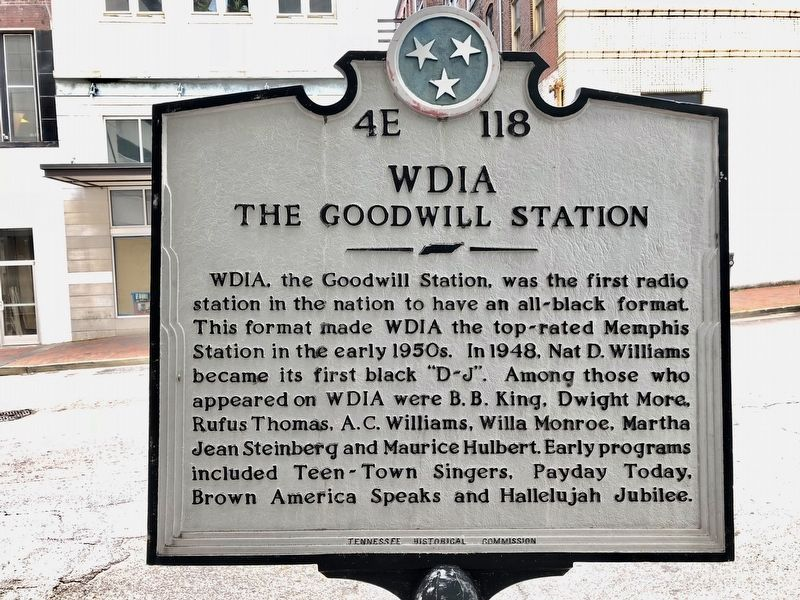 Another nearby marker about WDIA radio station. image. Click for full size.