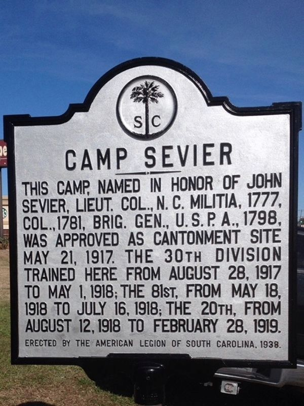 Camp Sevier Marker image. Click for full size.