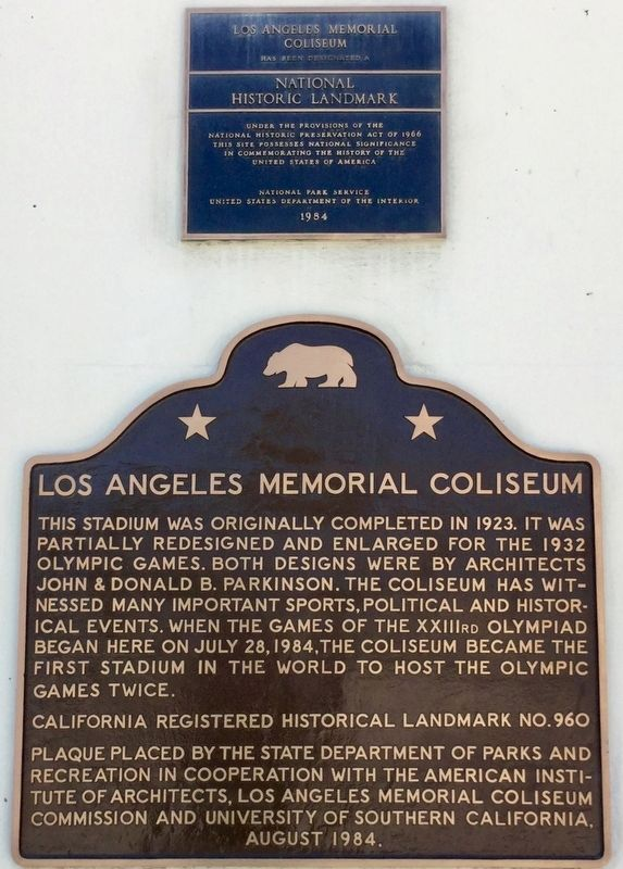 Los Angeles Memorial Coliseum Marker image. Click for full size.