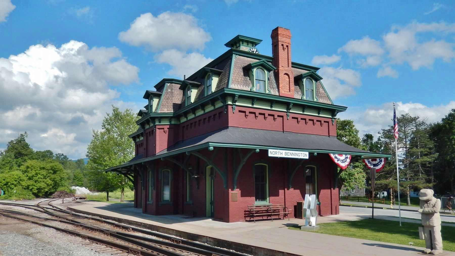 North Bennington Railroad Station (<i>view from railroad tracks; modern sculpture front & right</i>) image. Click for full size.