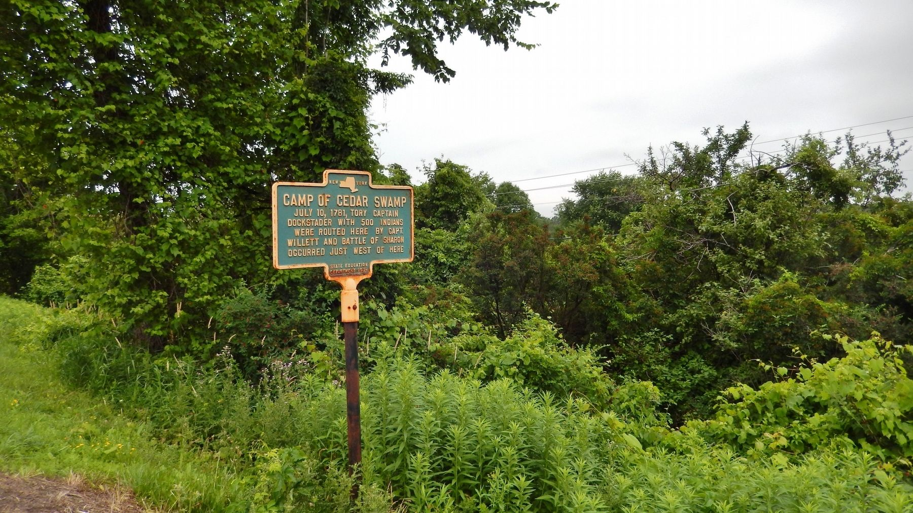 Camp of Cedar Swamp Marker (<i>wide view</i>) image. Click for full size.