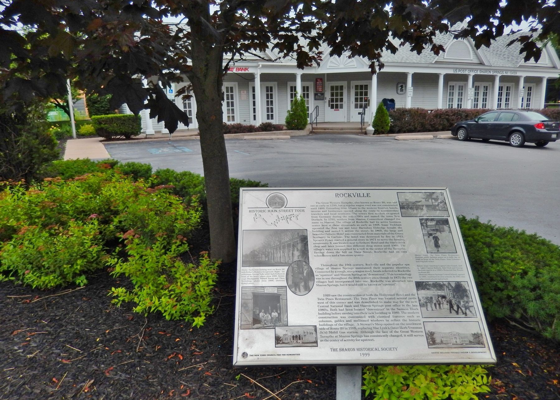 Rockville Marker (<i>wide view; overlooking Post Office and parking lot</i>) image. Click for full size.