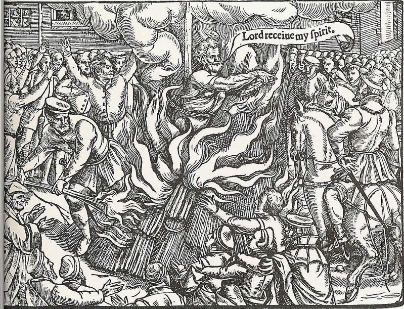 <i>John Rogers, the first victim (4 February 1555) of the Marian persecutions in England.</i> image. Click for full size.