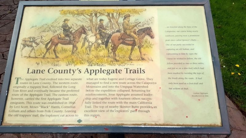Lane County's Applegate Trails Marker image. Click for full size.