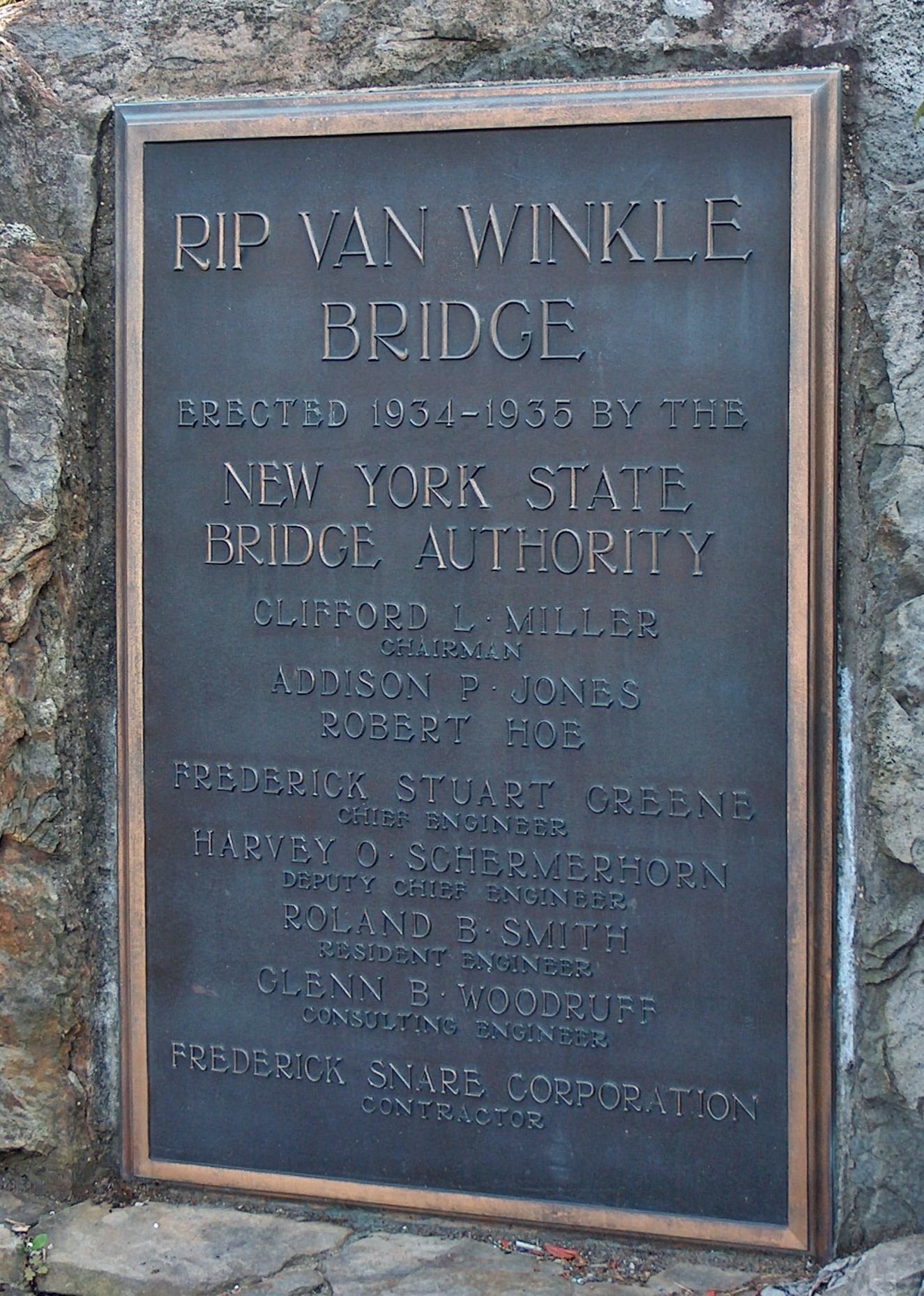 Rip Van Winkle Bridge Dedication Plaque 1954-1955