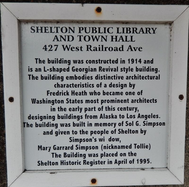 Shelton Public Library and Town Hall Marker image. Click for full size.