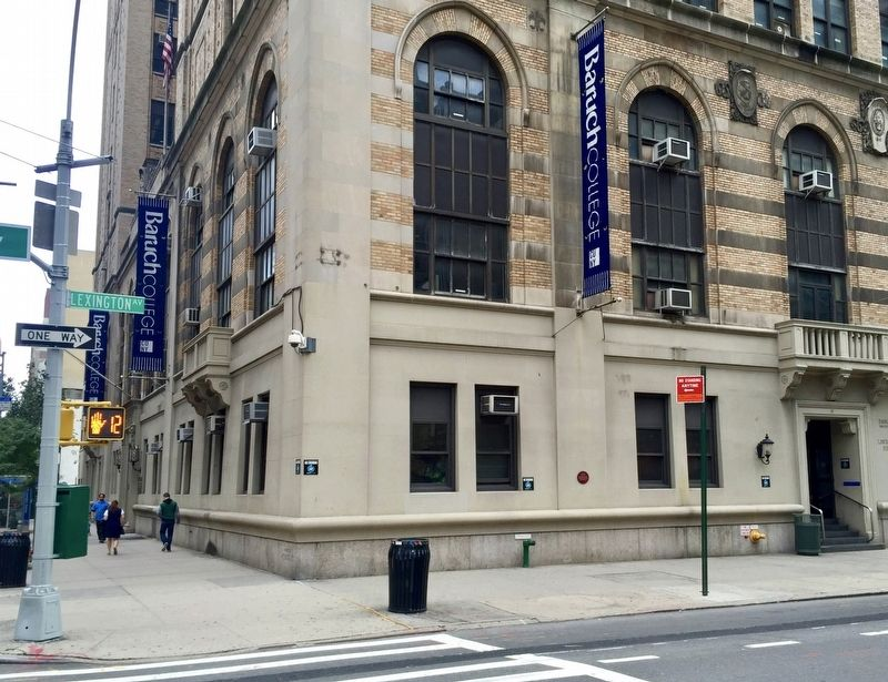 Bernard M. Baruch College / CUNY Marker - Wide View image. Click for full size.