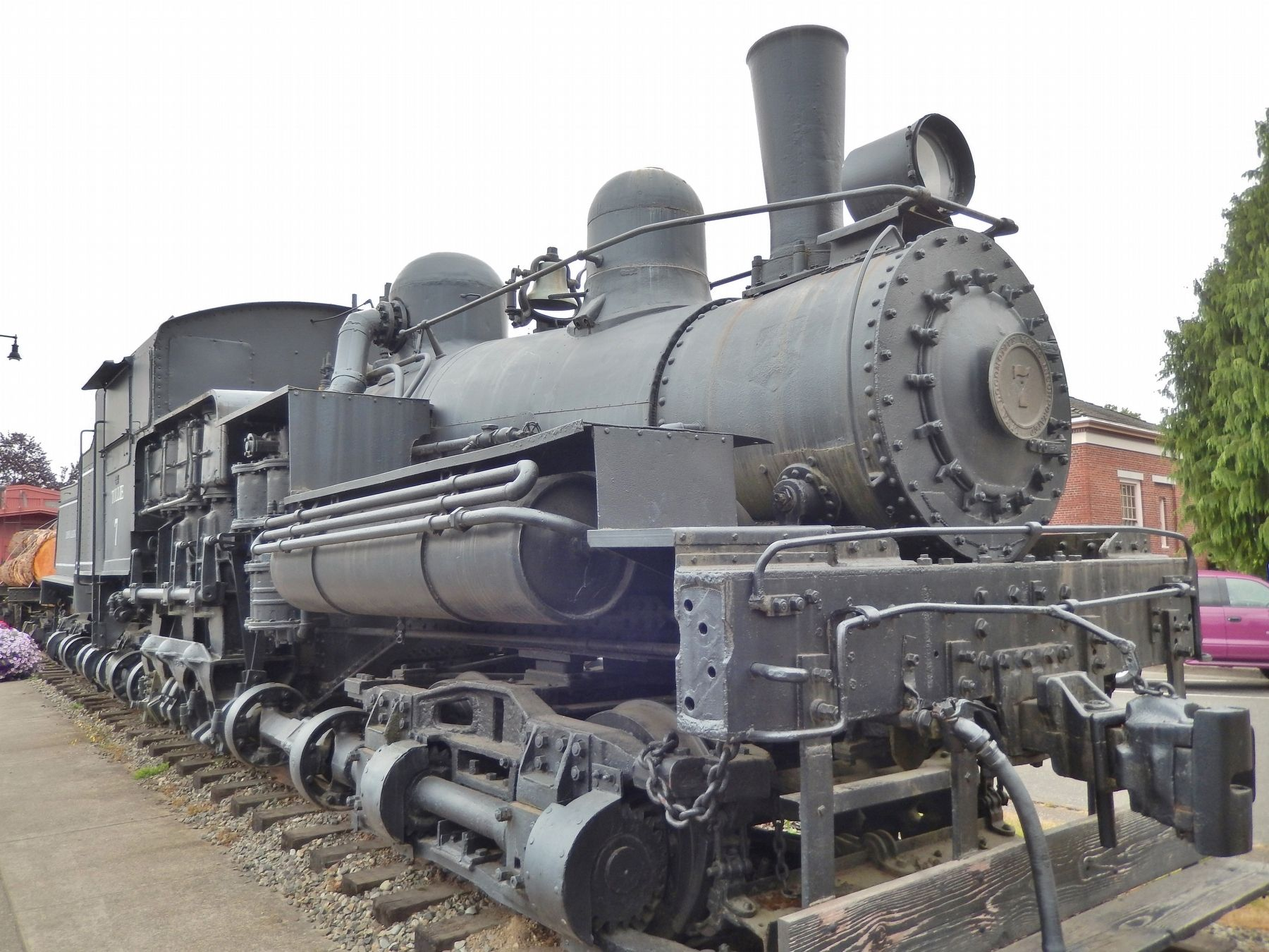 Simpson Logging Company Shay Locomotive #7 (<i>front view</i>) image. Click for full size.