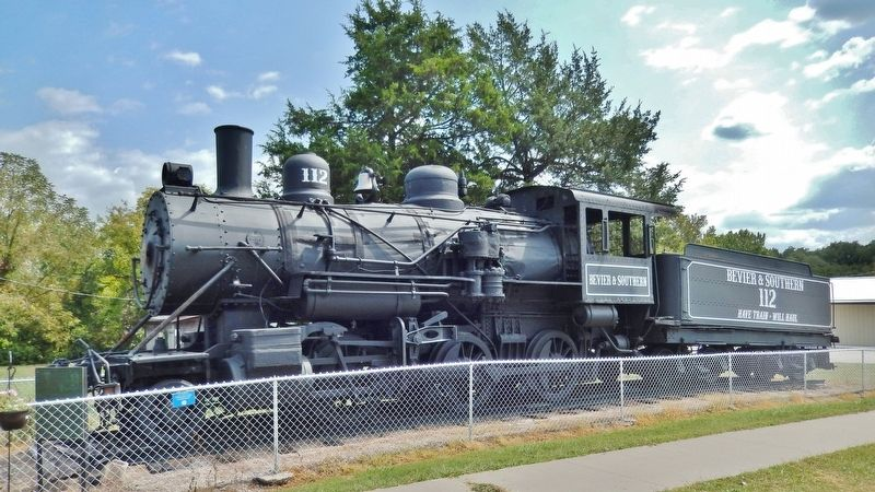 Locomotive No. 112 Marker (<i>wide view; marker visible near front of locomotive at left</i>) image. Click for full size.