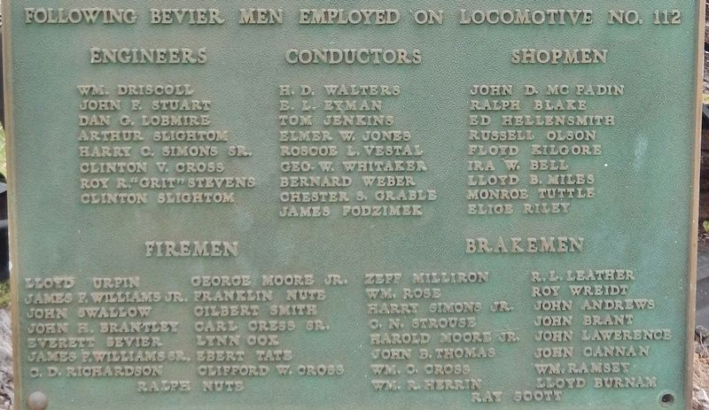 Marker detail: Bevier & Southern Locomotive 112 Employees image. Click for full size.
