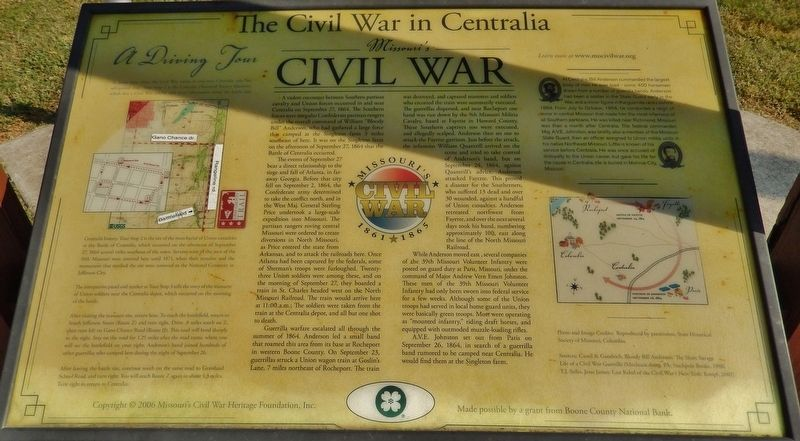 The Civil War in Centralia Marker image. Click for full size.