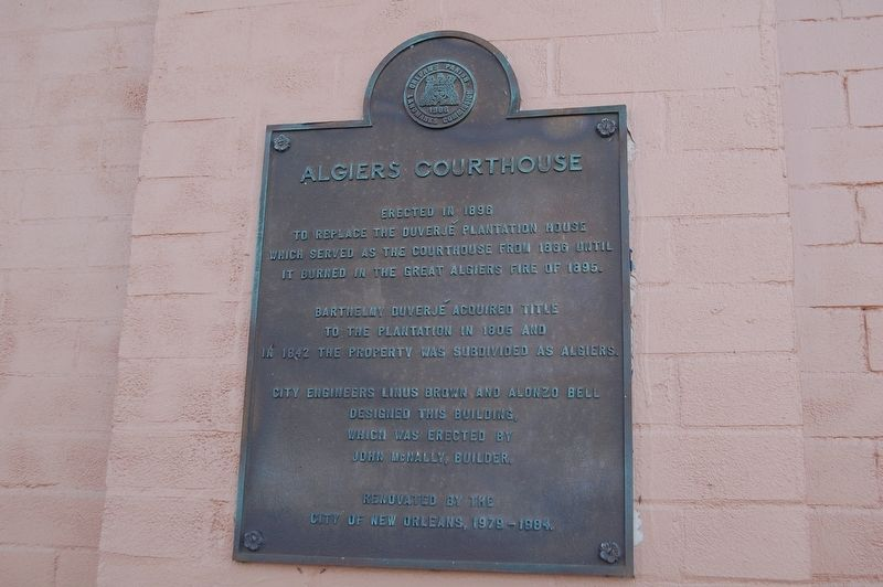Algiers Courthouse Marker image. Click for full size.