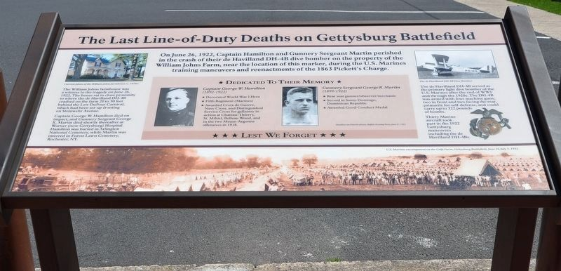 The Last Line-of-Duty Deaths on Gettysburg Battlefield Marker image. Click for full size.