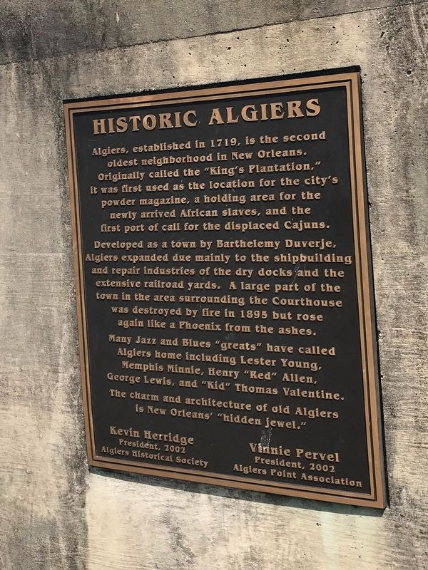 Historic Algiers Marker image. Click for full size.
