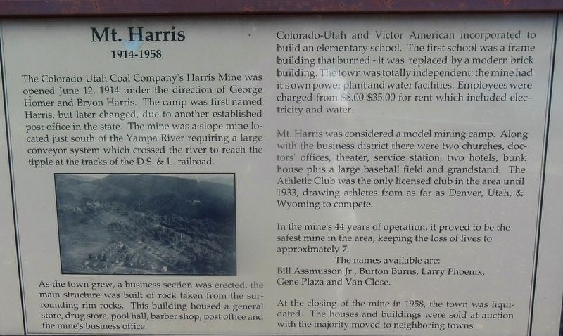 Marker Panel 1: Mt. Harris - 1914-1958 image, Touch for more information
