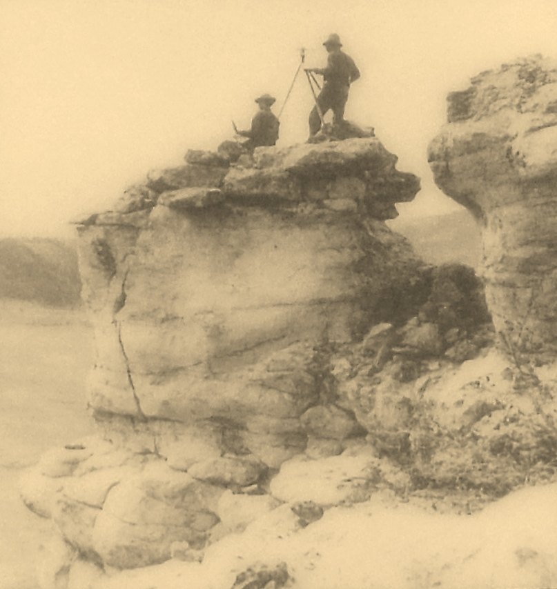 Marker detail: Surveying in the high country