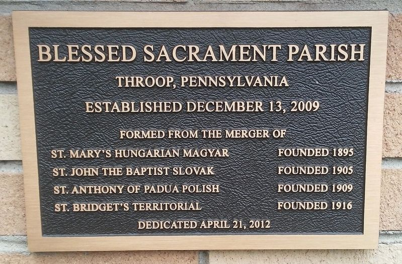 Blessed Sacrament Parish Marker image. Click for full size.