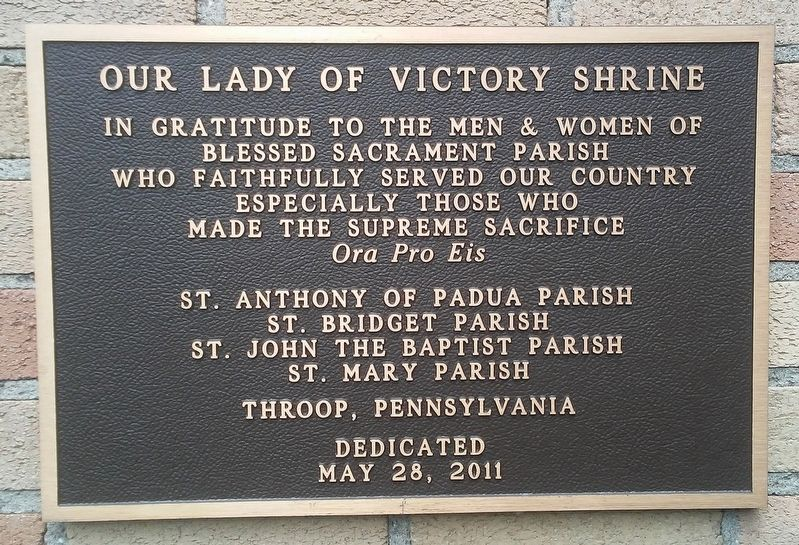 Our Lady of Victory Shrine Marker image. Click for full size.