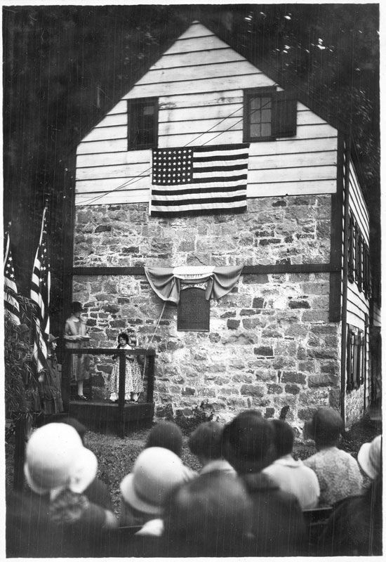 Dedication of the Old Alpine Trail Marker image. Click for full size.
