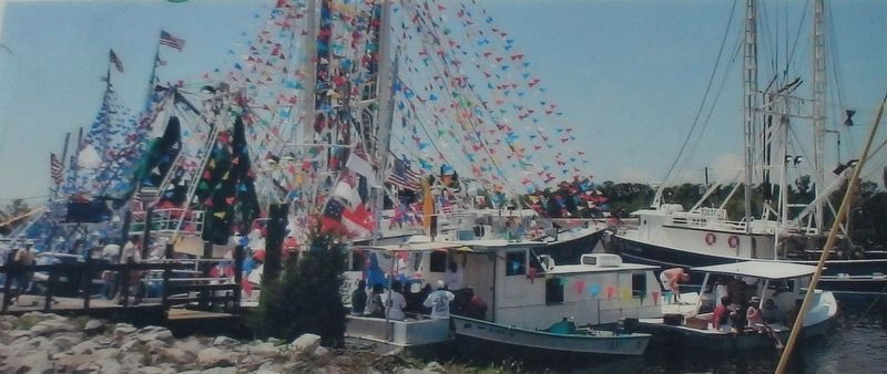 Marker detail: Vessels of all types adorned to celebrate the Blessing of the Fleet in Bayou La Batre image. Click for full size.