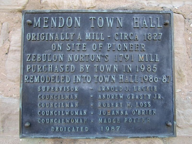 Mendon Town Hall Marker image. Click for full size.