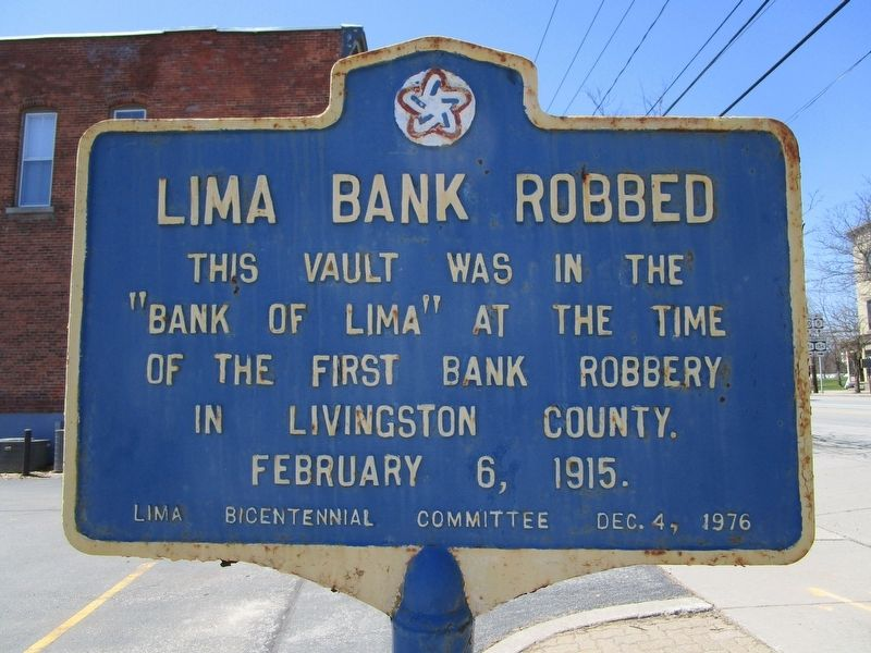 Lima Bank Robbed Marker image. Click for full size.
