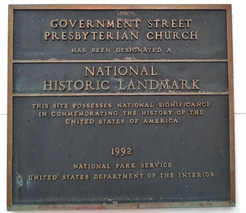 Government Street Presbyterian Church National Historic Landmark Plaque image. Click for full size.