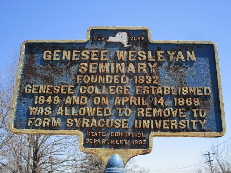 Genesee Wesleyan Seminary Marker image. Click for full size.
