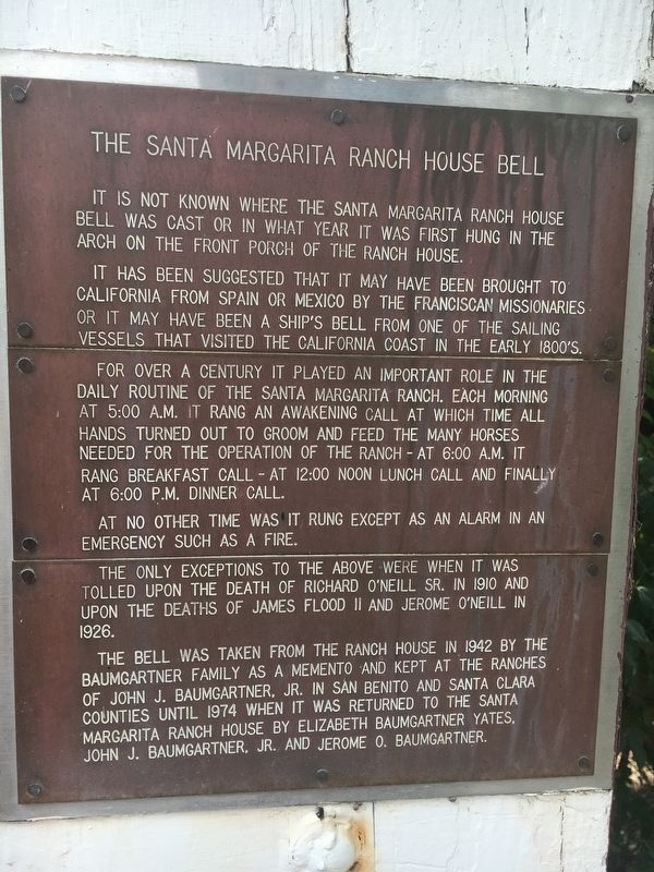 The Santa Margarita Ranch House Bell Marker image. Click for full size.