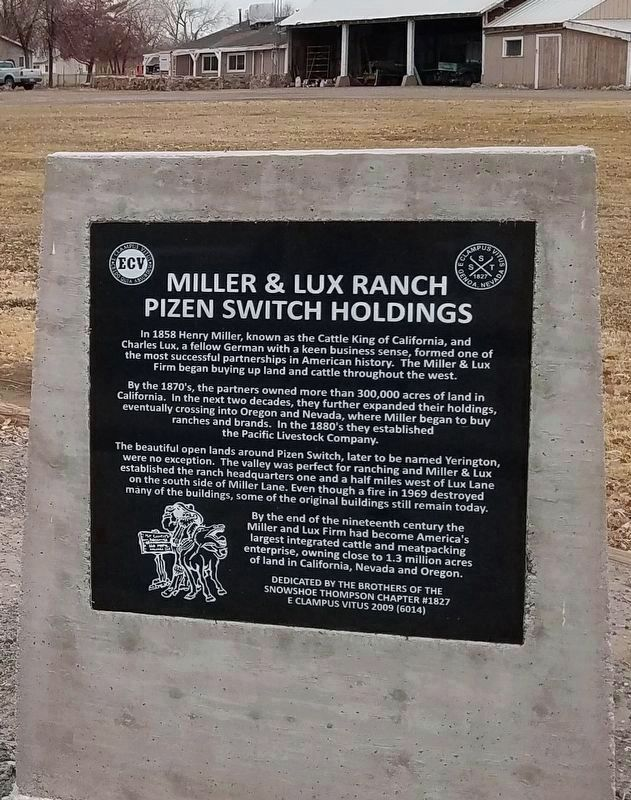 Miller & Lux Ranch Pizen Switch Holdings Marker image. Click for full size.