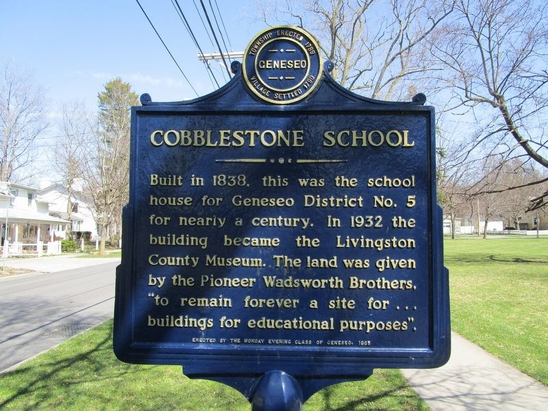 Cobblestone School Marker image. Click for full size.