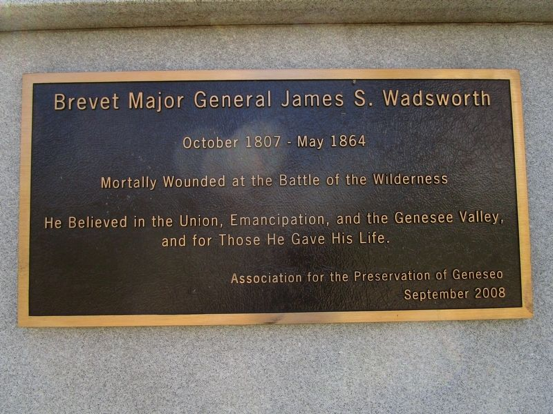 Brevet Major General James S. Wadsworth Marker image. Click for full size.