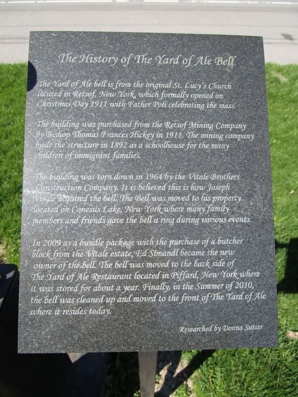 The History of the Yard of Ale Bell Marker image. Click for full size.