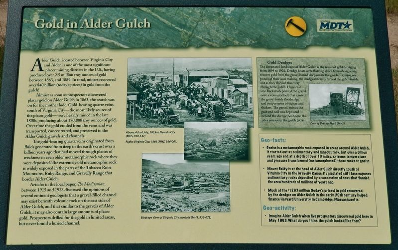 Gold in Alder Gulch Marker image. Click for full size.