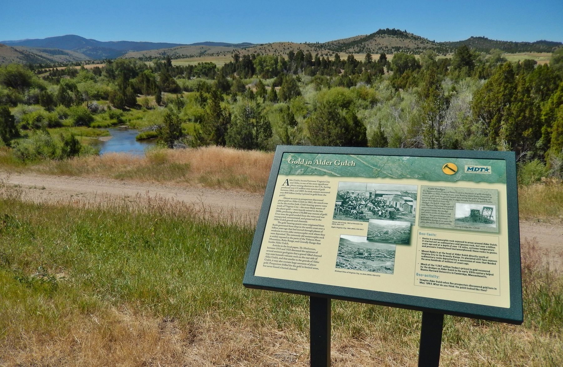 Gold in Alder Gulch Marker (<i>wide view; overlooking Alder Gulch</i>) image. Click for full size.