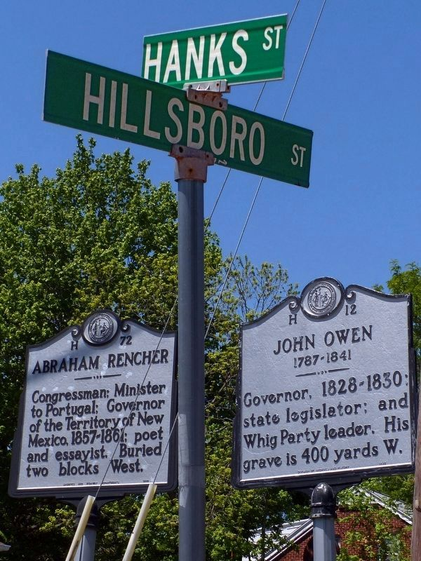 John Owen & Abraham Rencher markers<br>at Hanks and Hillsboro Streets image. Click for full size.