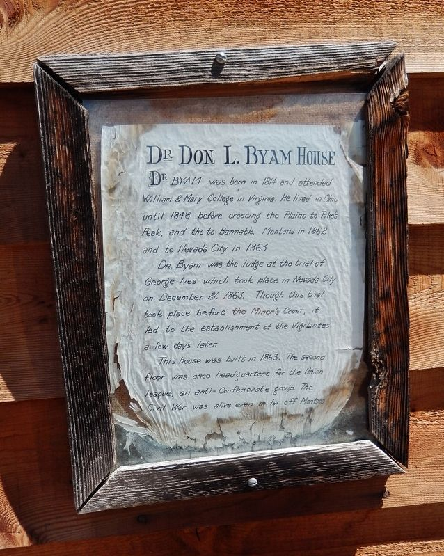 Dr. Byam Interpretive Plaque (<i>mounted on front of house, beside door</i>) image. Click for full size.