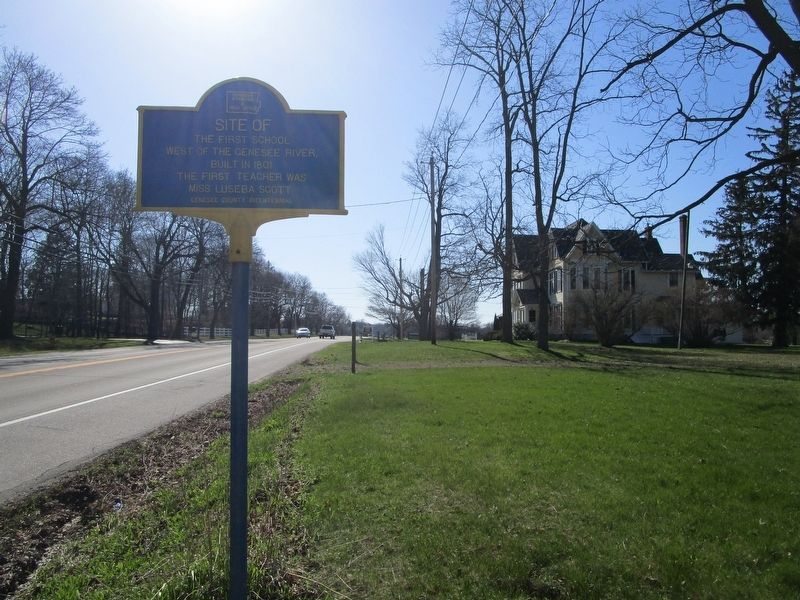 Site of the First School Marker image. Click for full size.