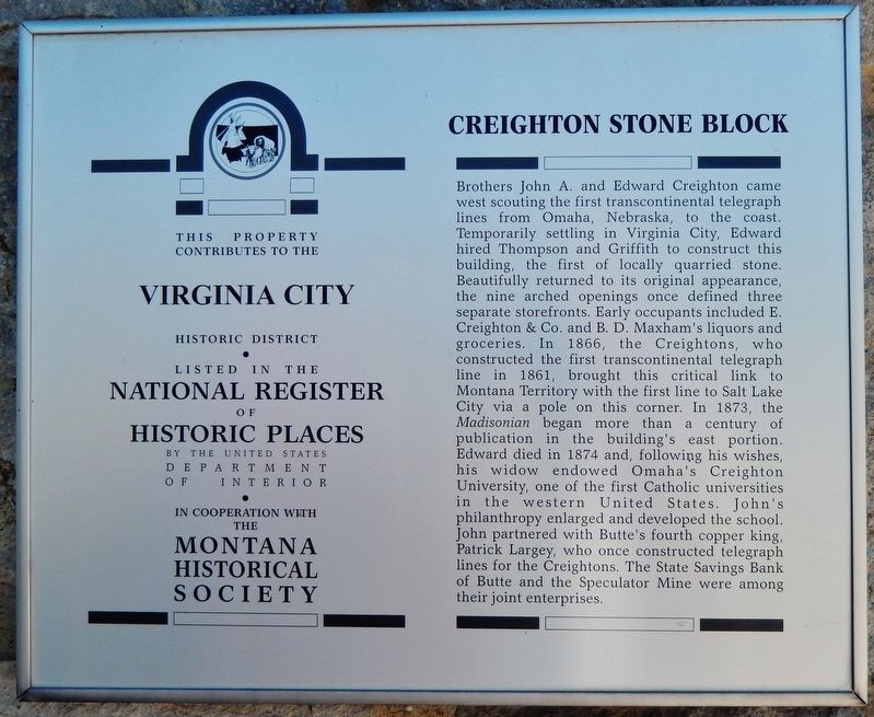Creighton Stone Block Marker image. Click for full size.