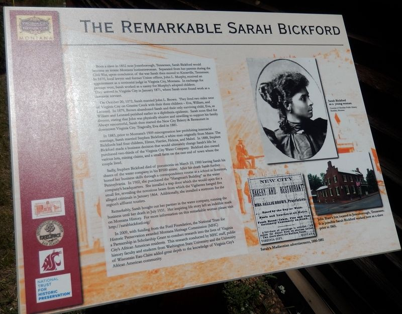 The Remarkable Sarah Bickford Marker image. Click for full size.